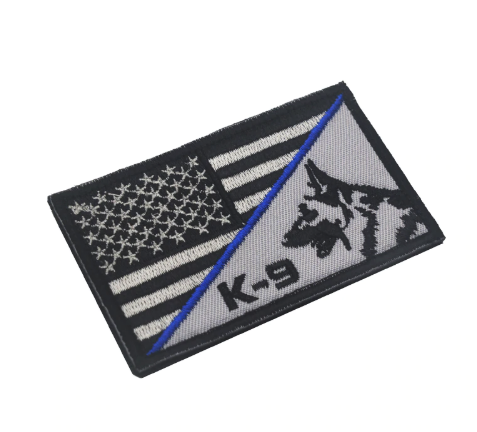 "USA K-9 Thin Blue Line Patch - 2x3"" hook and loop back"