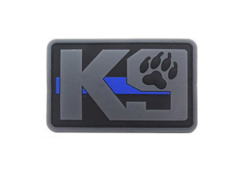 "Image of PVC K-9 Thin Blue Line rubber patch 2x3"" hook and loop back"
