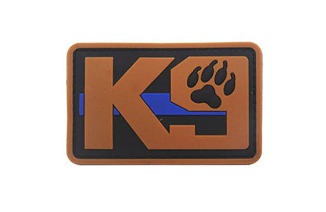 "PVC K-9 Thin Blue Line rubber patch 2x3"" hook and loop back"