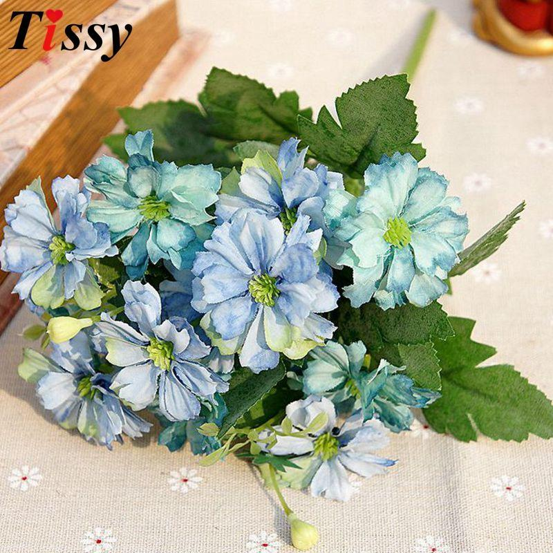 Bouquet European Style Silk Artificial Flowers Daisy Green Leaves ...