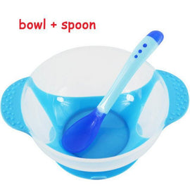 Fresh Deals Baby Blue Bowl + Spoon Baby Temperature Sensing Dinnerware Set Bowl Spoon Fork Set
