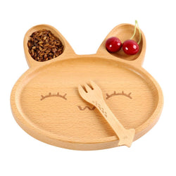 Fresh Deals Baby & Toddler A Baby Natural Bamboo Rabbit-shaped Feeding Tray