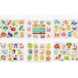 Fresh Deals Baby & Toddler Animal Fruit Jigsaw Board Practical Wooden Puzzle Educational Toys