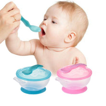 Fresh Deals Baby & Toddler Anti-slip Plastic Bowl with Temperature Sensing Spoon