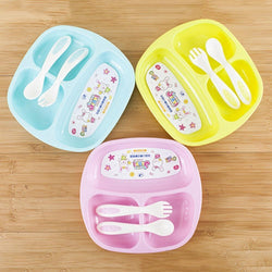 Fresh Deals Baby & Toddler Baby Feeding Fork Spoon Plate Set Tableware