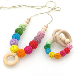 Fresh Deals Baby & Toddler Baby Rainbow Crochet Nursing Necklace