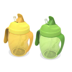 Fresh Deals Baby & Toddler Baby Sippy Dual Handles Straw Drinking Bottles
