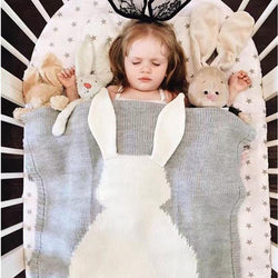 Fresh Deals Baby & Toddler Big Rabbit Ear Swaddling Knitted Wrap Baby Blanket