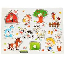 Fresh Deals Baby & Toddler CYX0922 Animal Fruit Jigsaw Board Practical Wooden Puzzle Educational Toys
