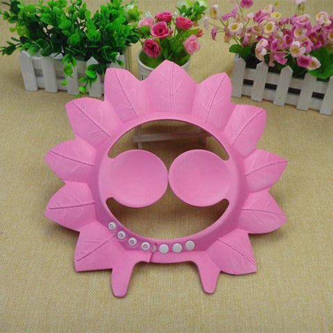 Fresh Deals Baby & Toddler Pink Adjustable Baby Bath Shower Ear Protector Maple Leaf Cap