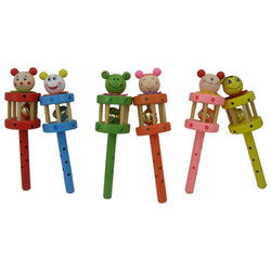 Fresh Deals Baby & Toddler Rattle Rainbow Crib Wooden Bell Stick Shaker Toy