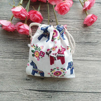 Fresh Deals Garden & Outdoor Cotton Horse Linen Jewellery Bag Reusable Decoration