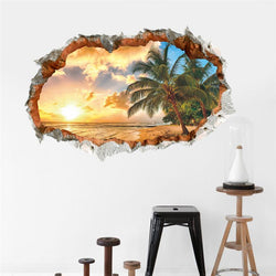 Fresh Deals Home & Living 3D Broken Wall Sunset Scenery Coconut Trees Wall Sticker