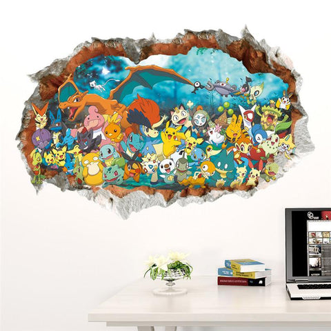 Fresh Deals Home & Living 3D Cartoon Pokemon Pikachu Wall Decal Stickers Room Decor
