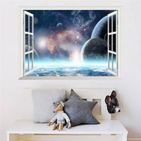 Fresh Deals Home & Living 3D Window Scenery Galaxy Outer Space Planet Wall Sticker