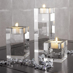 Fresh Deals Home & Living 3pcs one set Crystal Candle Holders Small Tealight Candlestick