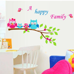 Fresh Deals Home & Living A Happy Family Owl On The Tree Wall Stickers