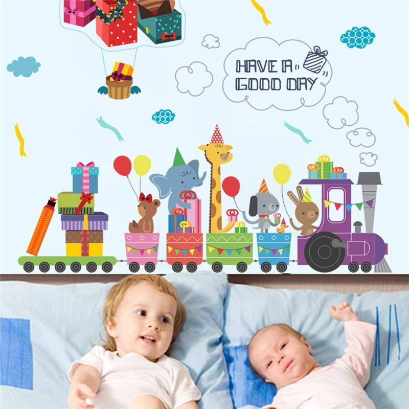 Animals Train Birthday Gift Wall Stickers Poster Mural Fresh Deals