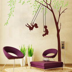 Fresh Deals Home & Living Children Green Tree Swing Bedroom Wall Stickers