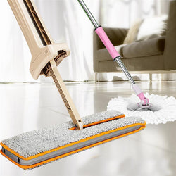 Fresh Deals Home & Living Double Sided Non Hand Washing Flat Mop Wooden Floor