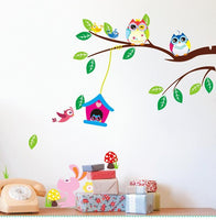 Fresh Deals Home & Living Owls Tree Birds Rabbit Animal Wall Stickers For kids Room