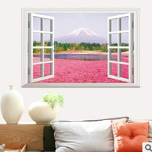 Fresh Deals Home & Living Pink Flower Scenery Window Wall Stickers Decor