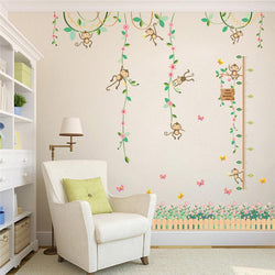 Fresh Deals Home & Living Playing Monkeys Butterfly Garden Height Measure Wall Stickers