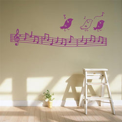 Fresh Deals Home & Living Purple Fashion Birds Listen To Music Notation Wall Stickers