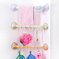 Fresh Deals Home & Living Suction Cup Towel Bar With Hooks Bathroom Holder