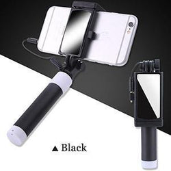 Fresh Deals Mobile & Tablet Accessories Black Universal Phone Selfie Stick With Foldable Mirror