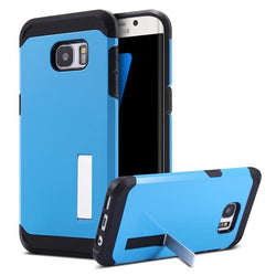 Fresh Deals Mobile & Tablet Accessories blue Slim Hybrid Shockproof Armor Holder Samsung Case Cover