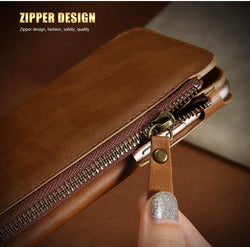 Fresh Deals Mobile & Tablet Accessories Brown / China / For iPhone 7 Zipper Lanyard Wallet Phone Case for iPhone 6 6s 7