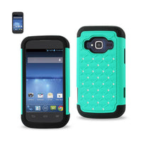 Fresh Deals Mobile & Tablet Accessories Hybrid Heavy Duty Jewelry Diamond Case In Black Green For ZTE Concord 2