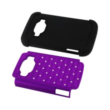 Fresh Deals Mobile & Tablet Accessories Hybrid Heavy Duty Jewelry Diamond Case In Black Purple For ZTE Concord 2