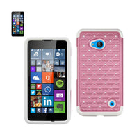 Fresh Deals Mobile & Tablet Accessories Hybrid Heavy Duty Jewelry Diamond Case In White Pink For Nokia Lumia 640