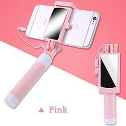 Fresh Deals Mobile & Tablet Accessories Pink Universal Phone Selfie Stick With Foldable Mirror