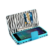 Reiko Mobile & Tablet Accessories Alcatel TRU Wallet Case With Inner Zebra Print In Blue By Reiko