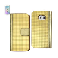 Reiko Mobile & Tablet Accessories Gold Chrome Design Wallet Case In Gold For Samsung Galaxy S6 Edge By Reiko
