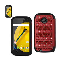Reiko Mobile & Tablet Accessories Hybrid Heavy Duty Jewelry Diamond Case In Black Red For Motorola Moto E By Reiko