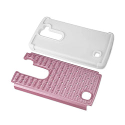 Reiko Mobile & Tablet Accessories Hybrid Heavy Duty Jewelry Diamond Case In White Pink For LG Volt 2 By Reiko