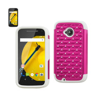 Reiko Mobile & Tablet Accessories Hybrid Jewelry Diamond Case In White Hot Pink For Motorola Moto E By Reiko