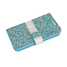 Reiko Mobile & Tablet Accessories Jewelry Rhinestone Wallet Case In Blue For Samsung Galaxy Grand Prime By Reiko