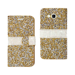 Reiko Mobile & Tablet Accessories Jewelry Rhinestone Wallet Case In Gold For Samsung Galaxy Grand Prime By Reiko