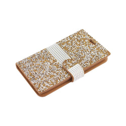 Reiko Mobile & Tablet Accessories Jewelry Rhinestone Wallet Case In Gold For Samsung Galaxy J7 By Reiko