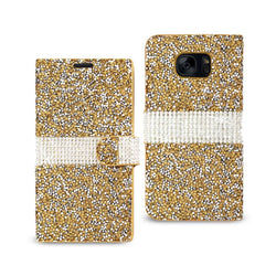Reiko Mobile & Tablet Accessories Jewelry Rhinestone Wallet Case In Gold For Samsung Galaxy S7 Edge By Reiko