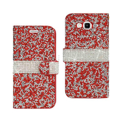 Reiko Mobile & Tablet Accessories Jewelry Rhinestone Wallet Case In Red For Samsung Galaxy Grand Prime By Reiko