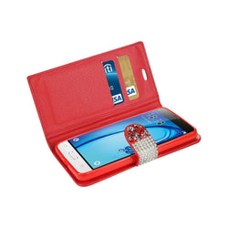 Reiko Mobile & Tablet Accessories Jewelry Rhinestone Wallet Case In Red For Samsung Galaxy J3 By Reiko