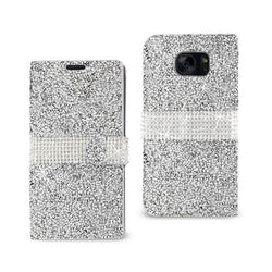 Reiko Mobile & Tablet Accessories Jewelry Rhinestone Wallet Case In Silver For Samsung Galaxy S7 Edge By Reiko