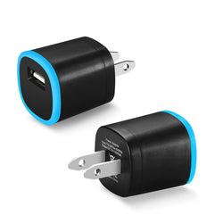 Reiko Mobile & Tablet Accessories New 1 Amp Dual Color Portable USB Travel Adapter Charger In Blue Black By Reiko