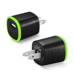 Reiko Mobile & Tablet Accessories New 1 Amp Dual Color Portable USB Travel Adapter Charger In Green Black By Reiko